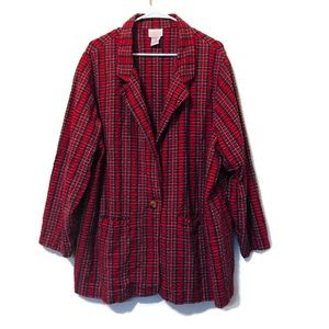 Roaman's Red Plaid Plus Size Blazer B8 3X